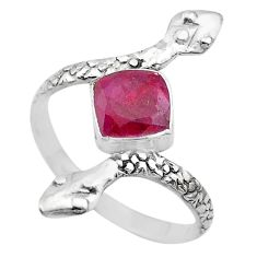 2.70cts solitaire natural red ruby 925 silver snake ring size 9.5 t32018