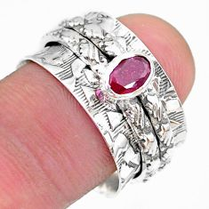 0.74cts solitaire natural red ruby 925 silver spinner ring size 8 t31741