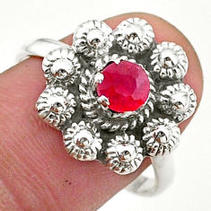 0.76cts solitaire natural red ruby 925 sterling silver flower ring size 8 t40701