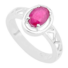 1.53cts solitaire natural red ruby 925 sterling silver ring jewelry size 6 t5195