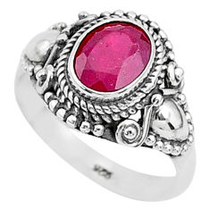 2.18cts solitaire natural red ruby 925 sterling silver ring jewelry size 6 t5302