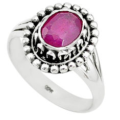 1.81cts solitaire natural red ruby 925 sterling silver ring jewelry size 6 t5366