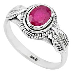 1.51cts solitaire natural red ruby 925 silver handmade ring size 6 t5403