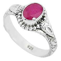 1.51cts solitaire natural red ruby 925 silver handmade ring size 6 t5408