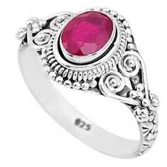 1.66cts solitaire natural red ruby 925 silver handmade ring size 6 t5415