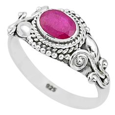 1.74cts solitaire natural red ruby 925 silver handmade ring size 6 t5435