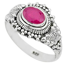 1.57cts solitaire natural red ruby 925 silver handmade ring size 6 t5438