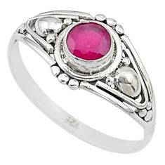 0.80cts natural cut ruby silver graduation handmade ring size 6 t9669