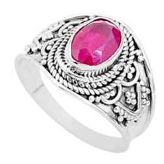 2.09cts solitaire natural red ruby 925 sterling silver ring jewelry size 7 t5149