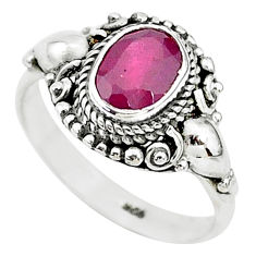 1.96cts solitaire natural red ruby 925 sterling silver ring jewelry size 7 t5345
