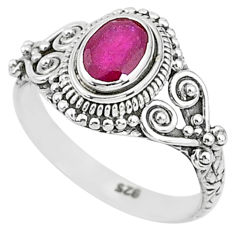 1.53cts solitaire natural red ruby 925 sterling silver ring jewelry size 7 t5391