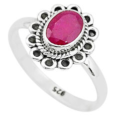 1.44cts solitaire natural red ruby 925 sterling silver ring jewelry size 7 t5396