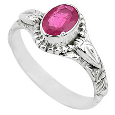 1.34cts solitaire natural red ruby 925 silver handmade ring size 7 t5405