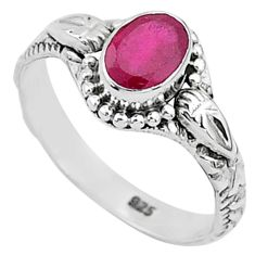 1.42cts solitaire natural red ruby 925 silver handmade ring size 7 t5406
