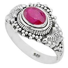1.47cts solitaire natural red ruby 925 silver handmade ring size 7 t5409