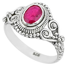 1.45cts solitaire natural red ruby 925 silver handmade ring size 7 t5414