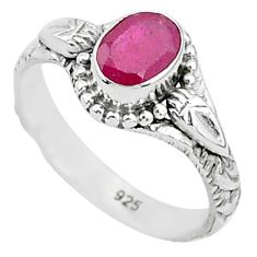 1.52cts solitaire natural red ruby 925 silver handmade ring size 7 t5422