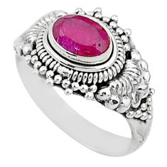 1.52cts solitaire natural red ruby 925 silver handmade ring size 7 t5428