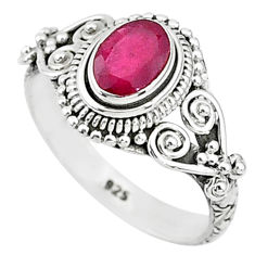 1.42cts solitaire natural red ruby 925 silver handmade ring size 7 t5430