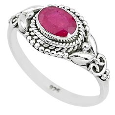 1.53cts solitaire natural red ruby 925 silver handmade ring size 7 t5436