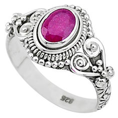 1.40cts solitaire natural red ruby 925 silver handmade ring size 7 t5442