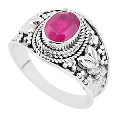 2.13cts solitaire natural red ruby 925 sterling silver ring jewelry size 8 t5142