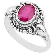 2.14cts solitaire natural red ruby 925 sterling silver ring jewelry size 8 t5321