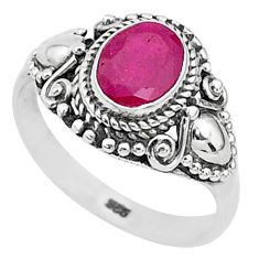 2.03cts solitaire natural red ruby 925 sterling silver ring jewelry size 8 t5322