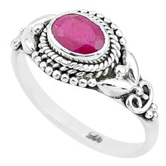1.36cts solitaire natural red ruby 925 sterling silver ring jewelry size 8 t5388