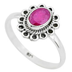 1.43cts solitaire natural red ruby 925 sterling silver ring jewelry size 8 t5399