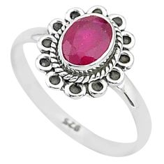 1.34cts solitaire natural red ruby 925 silver handmade ring size 8 t5401