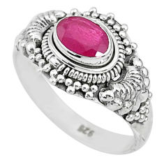 1.44cts solitaire natural red ruby 925 silver handmade ring size 8 t5412