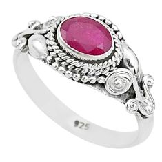 1.46cts solitaire natural red ruby 925 silver handmade ring size 8 t5418