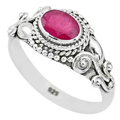 1.56cts solitaire natural red ruby 925 silver handmade ring size 8 t5419