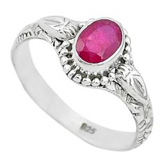 1.47cts solitaire natural red ruby 925 silver handmade ring size 8 t5423
