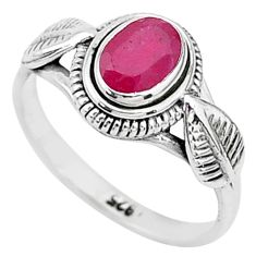 1.47cts solitaire natural red ruby 925 silver handmade ring size 8 t5425