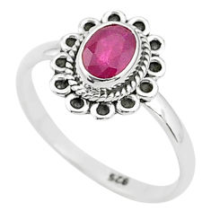 1.44cts solitaire natural red ruby 925 silver handmade ring size 8 t5432