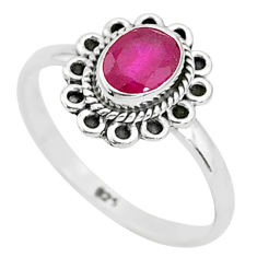 1.52cts solitaire natural red ruby 925 silver handmade ring size 8 t5439