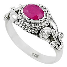 1.54cts solitaire natural red ruby 925 silver handmade ring size 8 t5449