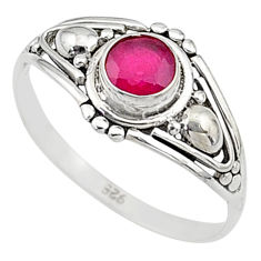 0.76cts natural cut ruby silver graduation handmade ring size 8 t9705