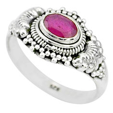 1.36cts solitaire natural red ruby 925 sterling silver ring jewelry size 9 t5368