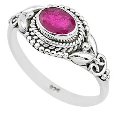 1.51cts solitaire natural red ruby 925 silver handmade ring size 9 t5417