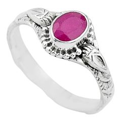 1.51cts solitaire natural red ruby 925 silver handmade ring size 9 t5421