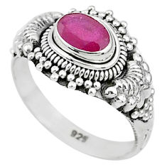 1.48cts solitaire natural red ruby 925 silver handmade ring size 9 t5426