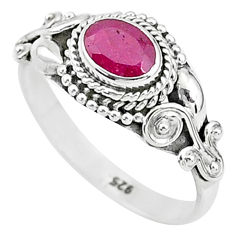 1.72cts solitaire natural red ruby 925 silver handmade ring size 9 t5429
