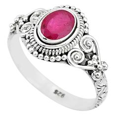 1.49cts solitaire natural red ruby 925 silver handmade ring size 9 t5433