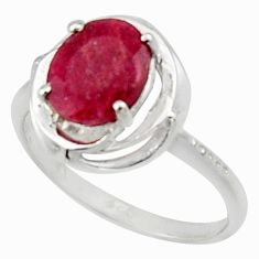 3.51cts solitaire natural red ruby 925 sterling silver ring size 7.5 r40626