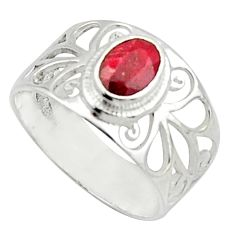 1.65cts solitaire natural red ruby 925 sterling silver ring size 7.5 r40827