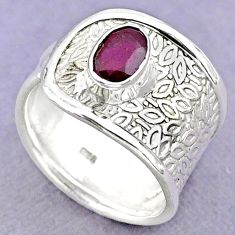1.49cts solitaire natural red ruby 925 sterling silver ring size 7 t32381