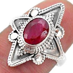 2.08cts solitaire natural red ruby 925 sterling silver ring size 7 t46613